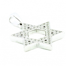 Sterling Silver Star David con CZ 19mm Colgantes